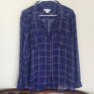 Nice NWOT blue tunic blouse, by Liz Claiborne. XL